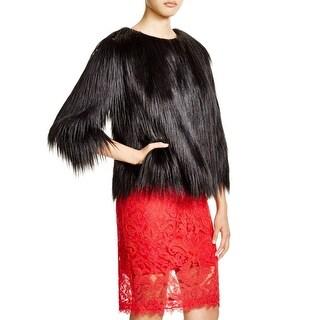 Tadashi Shoji Womens Jacket Faux Fur Long Sleeves