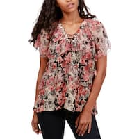 Lucky Brand Womens Pullover Top Tiered Lace-Up Pink S