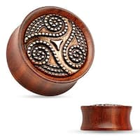 Dotted Tribal Swirl Rose Wood Saddle Fit Double Flared Plug (Sold Individually)