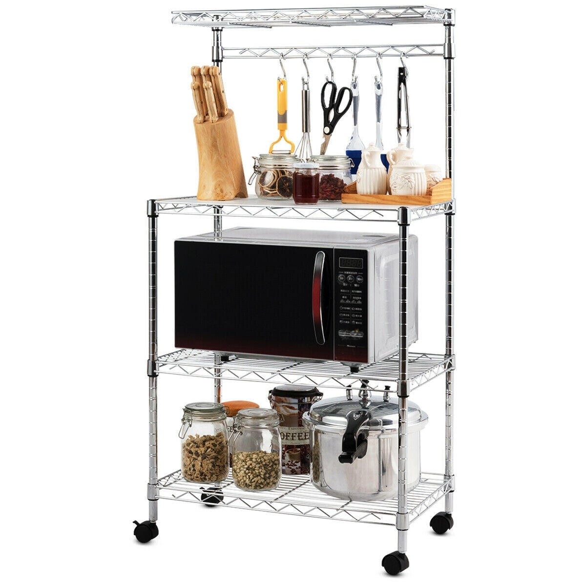 Costway 3-Tier Kitchen Baker\'s Rack Microwave Oven Stand Storage Cart  Workstation Shelf - sliver