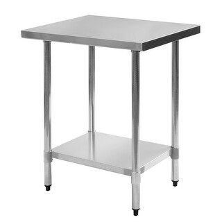 Costway 24'' x 30'' Stainless Steel Work Prep Table Commercial Kitchen Restaurant - White