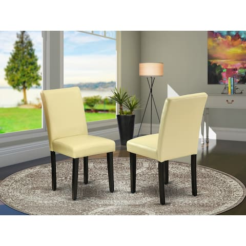 East West Furniture ABP1T73 Abbott Parson Chair with Black Leg and Pu Leather Color Eggnog, Set of 2