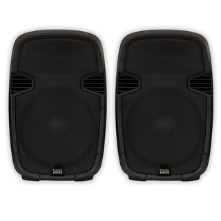 "Acoustic Audio AA152U Powered 15"" Speaker Pair 1800 Watts 2 Way with USB MP3"
