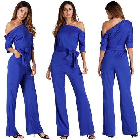 Classic Solid Color Oblique Collared One-Piece Wide Leg Pants