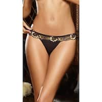 Glamour Goddess Black And Gold Lace Thong