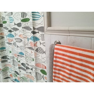 HipStyle Madfish Cotton Printed Shower Curtain - Multi-color