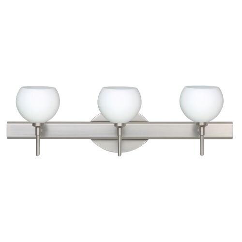 Besa Lighting 3SW-565807 Palla 3 Light Reversible Halogen Bathroom Vanity Light with Opal Matte Glass Shades