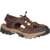 Rocky Men's Endeavor Point Hiking Sandal Brown Full Grain Leather