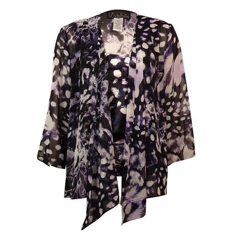 Alex Evenings Women's 2PC Printed Chiffon Blouse Set - Black/Purple - m