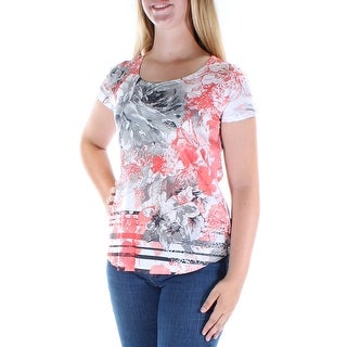 Womens Coral White Floral Short Sleeve Scoop Neck T-Shirt Top Size M