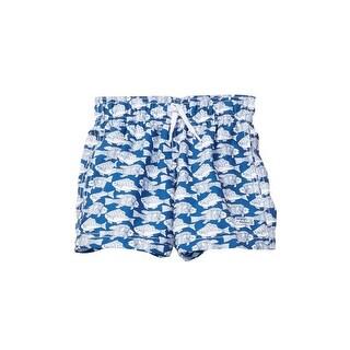 Azul Boys Blue Plenty Of Fish Print Elastic Band Drawstring Swim Shorts