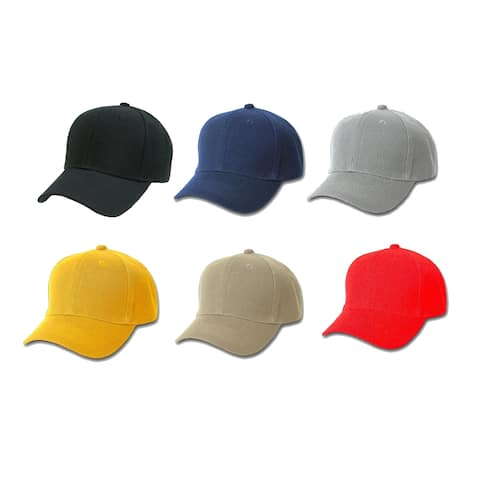 Pack of 5 PriceMeNow Plain Cotton Unisex Baseball Cap - Adjustable Blank Hat with Solid Color