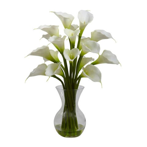 Nearly Natural Galla Calla Lily with Vase Arrangement