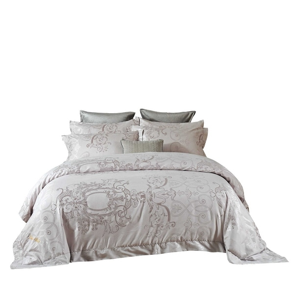 6 Pieces Duvet Cover Set with Luxury Jacquard Top and 100% Cotton Inside. Opens flyout.