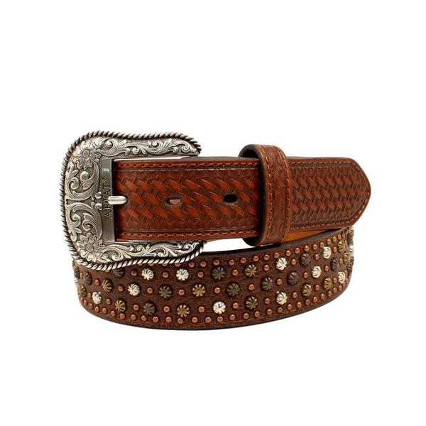 Ariat Western Belt Mens Leather Nailheads Starburst Conchos