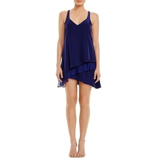 Parker Womens Slip Dress Silk Tiered - S