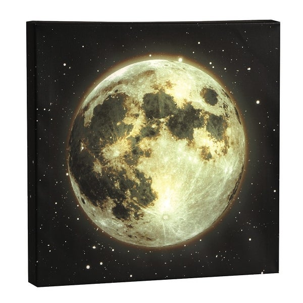 Wall Art - Moon LED Lighted Canvas Stretched Over Wood - 14