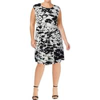 Lauren Ralph Lauren Womens Plus Casual Dress Floral Print Colorblock