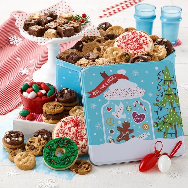 Mrs. Fields Peace, Love & Cookies Large Combo Tin. Opens flyout.