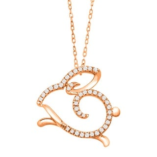 1/10 ct Diamond Rabbit Necklace in 10K Rose Gold