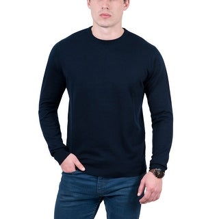 Real Cashmere Dark Blue Crewneck Cashmere Blend Mens Sweater