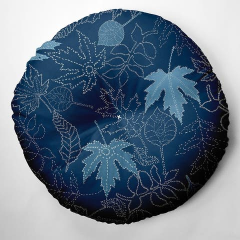 Dotted Leaves Fall Design Tufted Floor Pillow