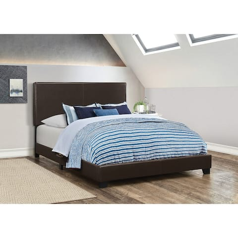 Leather Upholstered Queen Size Platform Bed, Brown