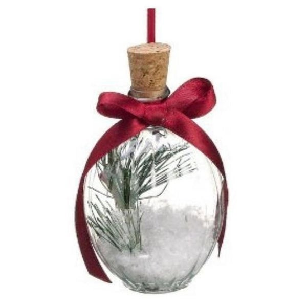 "4.5"" Festive White Snow in a Bottle Christmas Ornament"