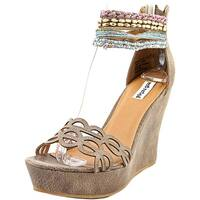 Not Rated Spring Fling Women  Open Toe Canvas Brown Wedge Sandal
