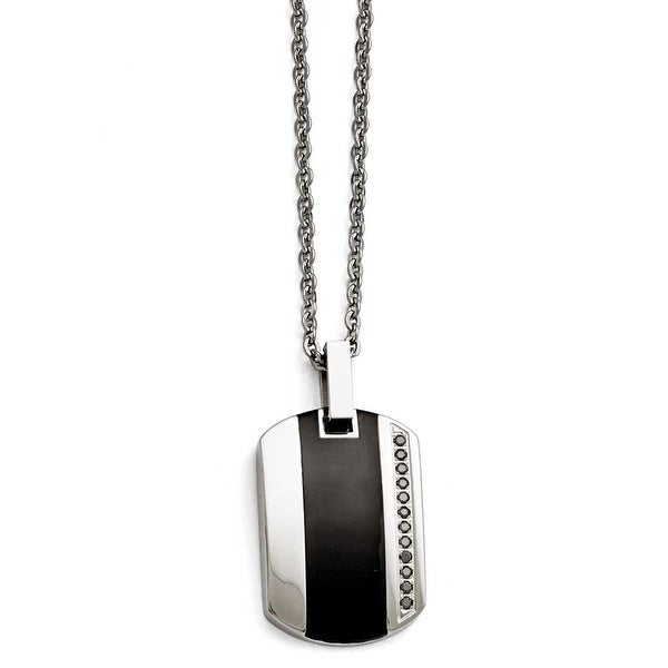 Chisel Stainless Steel Polished Black Ceramic Inlay CZ Small Necklace - 20 in