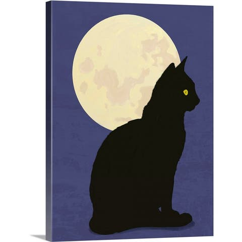 """""""Black cat and moon graphic hand painted illustration"""" Canvas Wall Art"""