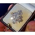 3.25TCW 18K European-cut VS Diamond Cluster One of a Kind Estate Ring 7 3/4 - Thumbnail 3