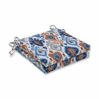 """Set of 2 Blue and Gray Ikat Patterned Square Seat Cushions 20"""""""