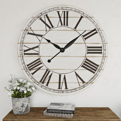 "The Gray Barn Oversize Shiplap Wall Clock - 48""H x 48""W x 1.5""D"