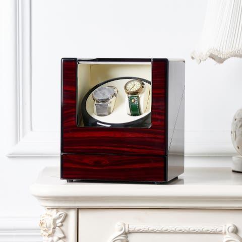 Double Watch Winder Automatic Rotation Display Case Storage Organizer