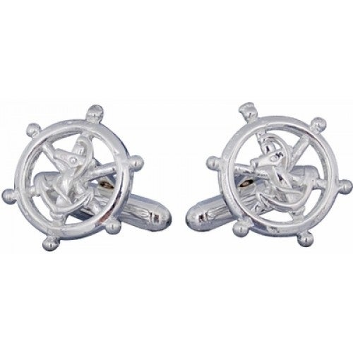 Nautical Sterling Silver Ships Wheel Captain Boat Enthusiast Sailing Cufflinks