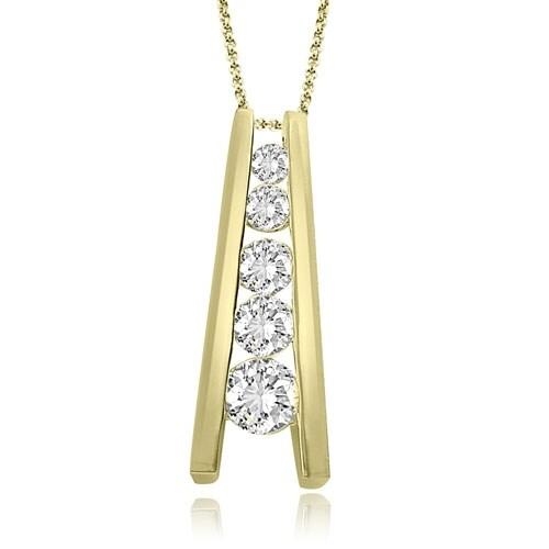 1.00 cttw. 14K Yellow Gold Round Cut Diamond Five-Stone Journey Pendant
