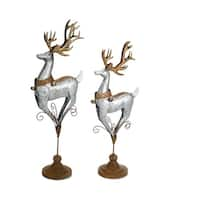 Set of 4 Grey and Brown Antique Styled Deer on Scroll Designed Pedestal Figurine 33""