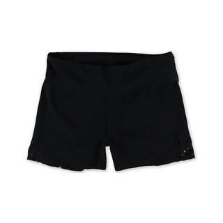 Aeropostale Womens Yoga Athletic Workout Shorts, black, Medium