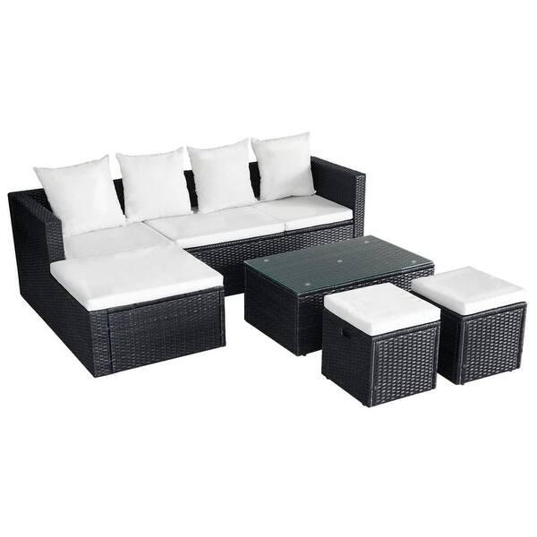 Astounding Shop Vidaxl Outdoor Corner Sofa Set Wicker Poly Rattan Black Pabps2019 Chair Design Images Pabps2019Com