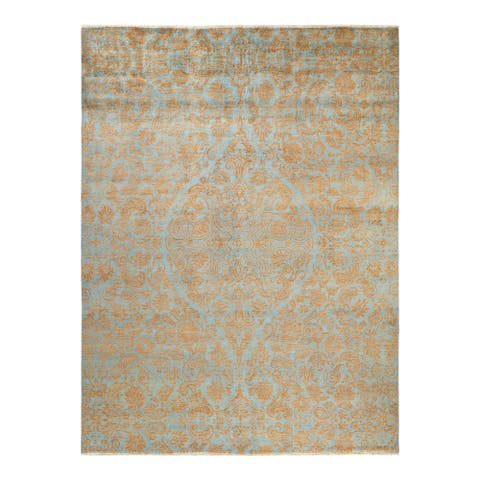 """Suzani, One-of-a-Kind Hand-Knotted Area Rug - Light Blue, 9' 0"""" x 12' 0"""" - 9' 0"""" x 12' 0"""""""