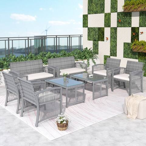 AOOLIVE 8 Pieces Outdoor Furniture Rattan Chair, Table Patio Set, Grey