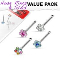 4 Pcs Value Pack of Assorted 316L Surgical Steel Flower Multi-Gem Paved Top Nose Stud