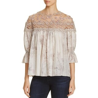 Elie Tahari Womens Neila Peasant Top Silk Blend Crochet Trim - xs