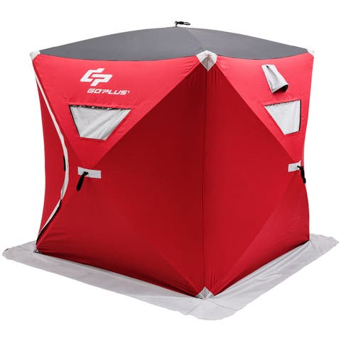 Goplus Portable Pop-up 3-person Ice Shelter Fishing Tent Shanty w/ Bag Ice Anchors Red
