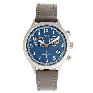 Elevon Antoine Chronograph Leather-Band Watch w/Date - Grey/Blue