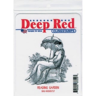 Deep Red Stamps Reading Garden Rubber Cling Stamp - 2.8 x 3