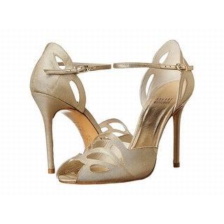 Stuart Weitzman NEW Gold Womens Shoes9.5M Thrill Open Toe Heel