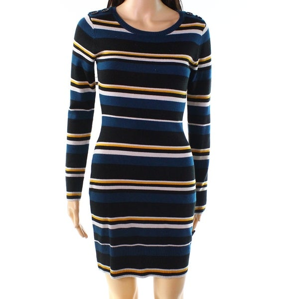 17cc51ff900 Shop BCX Teal Blue Womens Size XS Button-Detail Striped Sweater Dress -  Free Shipping On Orders Over  45 - Overstock - 27900792