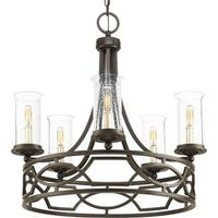 """Progress Lighting P400037 Soiree 5 Light 25-5/8"""" Wide Taper Candle Chandelier with Clear Seeded Glass Shades"""